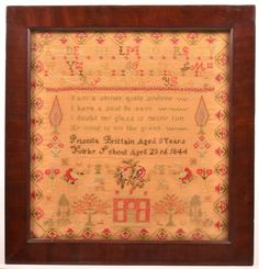 Sampler signed Pricilla Brittain, Aged 8 Year, Kirby School, April 23rd 1844.