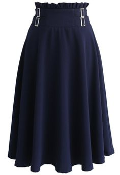 Just Wanna Twirl A-line Skirt in Navy- New Arrivals - Retro, Indie and Unique Fashion