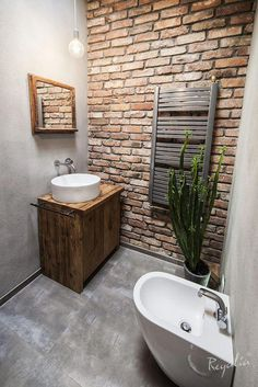 Amazing photo look at our piece for a lot more inspiring ideas! Amazing photo look at our piece for a lot more inspiring ideas! Amazing photo look at our piece for a lot more inspiring ideas! Amazing photo look at our piece for a lot more inspiring ideas! Brick Bathroom, Small Bathroom, Brick Tile Wall, Boho Bathroom, Downstairs Bathroom, Bathroom Cabinets, Modern Bathroom, Bad Inspiration, Bathroom Inspiration