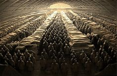 The Terracotta Warriors near Xi'an, China - accidentally unearthed by farmers digging a well in 1974.  The entire army: 7,000+ unique warriors, chariots and horses.