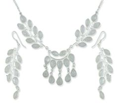 Moonstone jewelry set, 'Falling Leaves' NOVICA. $132.95. Handmade by Neeru Goel.; A fair trade product; Normally ships directly from India within 10 days.