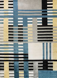 New Moon Rug   Venetian, Cobalt/buttercup. This Structured Yet Whimsical  Grid Featuring Tones Of Blue, Silver, Ivory, Black And Pale Yellow. This Rug  ...