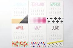 2015 Desk Calendar Monthly Geometric Modern by WhenItRainsShop