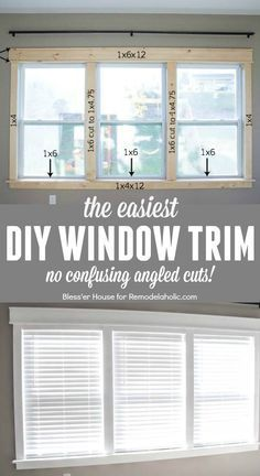 DIY tutorial for installing the easiest DIY window trim. This craftsman style trim requires NO confusing angled cuts, so it's easy for anyone to do, even a beginner /Remodelaholic/