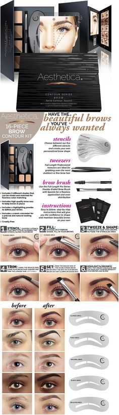 Eyebrow Liner and Definition: Aesthetica Cosmetics Brow Contour Kit - 15-Piece Contouring Eyebrow Makeup !New! -> BUY IT NOW ONLY: $30.12 on eBay!