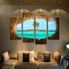 4 Panel Framed Cave Island Seascape Canvas Wall Art | Octo Treasure