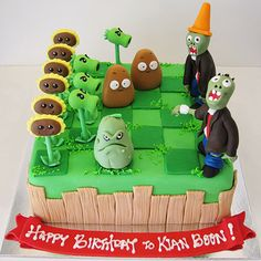 plants vs zombies cake for Ro Zombie Birthday Cakes, Zombie Birthday Parties, Zombie Party, 8th Birthday, Plants Vs Zombies, Plant Zombie, Plant Vs Zombie Cake, Plantas Versus Zombies, P Vs Z