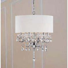 Allured Crystal Chandelier/ Solid White Shade | Overstock.com Shopping - Great Deals on Chandeliers & Pendants
