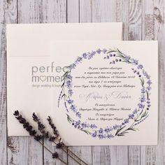Προσκλητήριο Γάμου Στεφάνι Λεβάντα Wedding Boots, Place Cards, Place Card Holders, Cosmetics, Design, Wedding, Weddings, Wedding Shoes