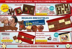 Todavía hay tiempo para ofrecer un regalo único a su Padre. Chocolate, Cereal, Unique Gifts, Bonbon, Messages, Weather, Sweets, Chocolates, Brown