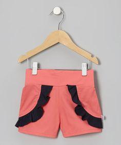 Coral & Navy Ruffle Shorts - Toddler & Girls #zulily #zulilyfinds