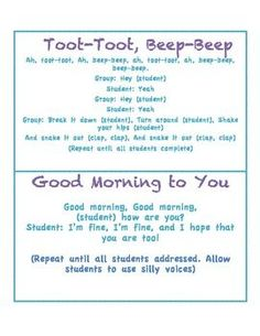 Morning Greetings and songs (responsive classroom)