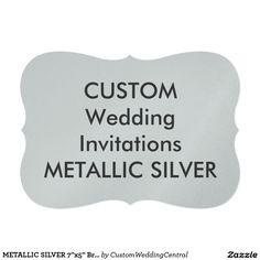 "METALLIC SILVER 7""x5"" Bracket Wedding Invitations"