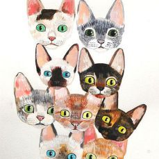 devon rex cats original painting on paper by QueenOfTheCats
