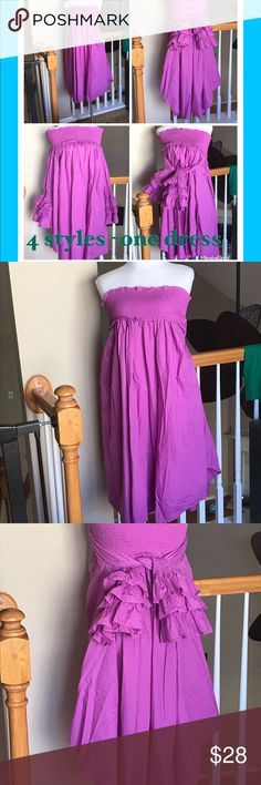 4 styles and one dress Cotton 100% ✅✅✅ New fun dress one size fit S,M,L gorgeous new dress. Sleeves can be worn as a sleeves or as a belt! Look at pictures, this dress is fin ! ✅❤️✅❤️ Dresses Midi