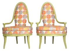 PAIR OF RETRO POP LIME LOUNGE CHAIRS