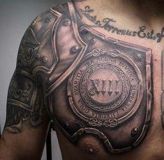 roman warrior armor tattoo design on shoulder and chest . - roman warrior armor tattoo design on shoulder and chest - Warrior Tattoos, Badass Tattoos, Viking Tattoos, Body Art Tattoos, Sleeve Tattoos, Maori Tattoos, Tatoos, Polynesian Tattoos, Norse Tattoo