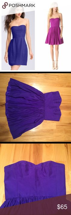"""Rebecca Taylor strapless silk dress Beautiful Rebecca Taylor strapless textured silk dress. Dark purple color. The dress is the color of the left stock photo, however it's the same style as the dress on the right (just slightly different color). Excellent condition. Sweetheart neckline. Metal boning, bustier corset appearance styled upper. Back zipper. Length 27"""". Pit to pit 17"""". Waist flat across 14.25"""". Rebecca Taylor Dresses Strapless"""