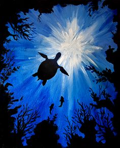 "Paint Nite | Drink Creatively ""Sea Turtle"" by Paint Nite Artist Kristina Elizabeth.  Want to learn how to paint this?? Check out our website for an event near you!"
