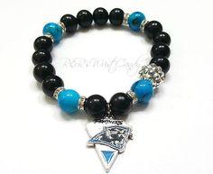 Carolina Panthers Bracelet, Beaded Bracelet, NFL,Football Bracelet, Charm Bracelet, Stretchy, Handmade, Custom Beaded Jewelry