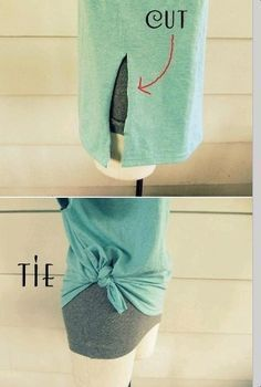 One cut to Tie a T-Shirt…great for too big tshirts!
