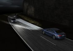 The revolutionary Audi Matrix LED headlights blank out light that would shine directly at oncoming traffic, while illuminating the space between and beside the vehicles. Audi A8, Matrix, My Dream Car, Dream Cars, Automobile, Fiber Optic Cable, Light Emitting Diode, Car Headlights, Atelier