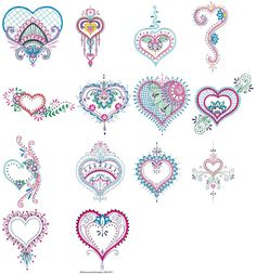 Mehndi Hearts 5x7 6x10 embroidery designs at Bunnycup Embroidery.