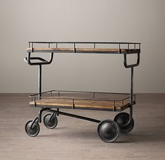 RH's Warehouse Trolley Bar Cart:Taking its design cue from a vintage factory…
