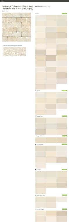 """Travertine Collection Floor or Wall Travertine Tile 3"""" x 6"""" (8 sq.ft/pkg). Slate Tile. Flooring & Rugs. Menards. Behr. Olympic. Valspar Paint. Benjamin Moore. PPG Pittsburgh. Dutch Boy. Ralph Lauren Paint. Sherwin Williams.  Click the gray Visit button to see the matching paint names."""