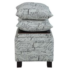These square storage ottomans with two matching accent pillows bring a room's décor together as an ideal way to add that extra splash of color and comfort to your living space. Some assembly required.