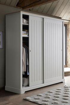 Next Hampton Sliding Wardrobe - White - schlafzimmer ideen Triple Wardrobe, White Wardrobe, Built In Wardrobe, Cupboard Wardrobe, Wardrobe Cabinets, Sliding Wardrobe Doors, Sliding Doors, Wardrobe Design Bedroom, Bedroom Cupboards