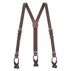 BROWN Buckle Strap Leather BUTTON Suspenders | SuspenderStore