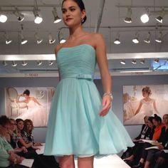 Mori Lee Spring 2014 # bridesmaid dress # Tiffany blue # bow detail # smooth (via bridal guide magazine)