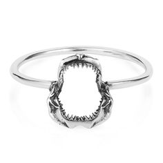 Mini Shark Jawbone Ring Silver | Lee Renee | Wolf & Badger