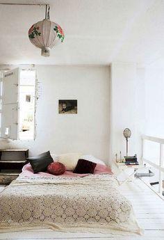 Boho bed on floor