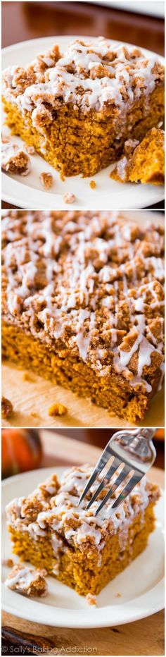 An incredibly moist and flavorful spiced-pumpkin coffee cake, piled high with a crumb topping and finished with a simple glaze. Recipe on sallysbakingaddiction.com: