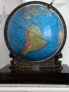 Vintage Crams world globe with art deco stand by jtjujubees