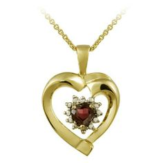 """18k Gold Plated Sterling Silver Diamond Accent and Garnet Heart Pendant Necklace, 18"""" Amazon Curated Collection. $19.99. Made in Thailand. All our diamond suppliers certify that to their best knowledge their diamonds are not conflict diamonds.. The natural properties and composition of mined gemstones define the unique beauty of each piece. The image may show slight differences to the actual stone in color and texture."""