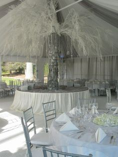 Wedding tent with a spay painted white tree ;) wow!!!
