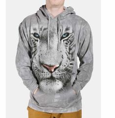 Take a walk on the wild side with the White Tiger Face Hoodie Sweatshirt from The Mountain. Shop our huge selection of zoo animal tees and wear one every day of the week! Tiger Hoodie, Tiger Face, Tie Dye Hoodie, Cool Hoodies, White Hoodie, Hooded Sweatshirts, Classic T Shirts, Unisex, Grey