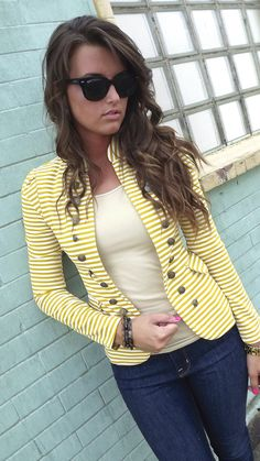 fall spring outfits womens fashion clothes style apparel clothing closet ideas yellow blazer jeans sunglasses casual