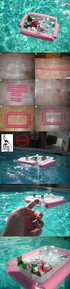 Make a floating cooler with a pool noodle, string, and plastic tub.#summer #tricks