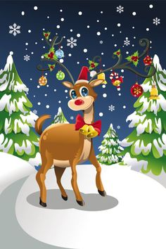 Buy Christmas Reindeer by artisticco on GraphicRiver. A vector illustration of a Christmas reindeer in the snow. Vector illustration, zip archive contain eps 10 and high r. Christmas Scenes, Christmas Hat, Retro Christmas, Christmas Design, Free Screensavers, Colorful Curtains, Free Vector Graphics, Fabric Shower Curtains, Christmas Wallpaper