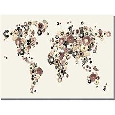 Trademark Global Michael Tompsett in.Flowers World Mapin. Canvas Art, 30in. x 47in.