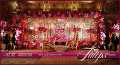 Tulips event - Best Pakistani wedding stage decoration flowering for Mehndi walima barat stages décor services provider in Lahore Pakistan. Wedding Stage Decorations, Reception Stage Decor, Wedding Stage Design, Marriage Decoration, Event Decor, Flower Decorations, Pakistani Wedding Stage, Mehndi Stage, Wedding Mandap