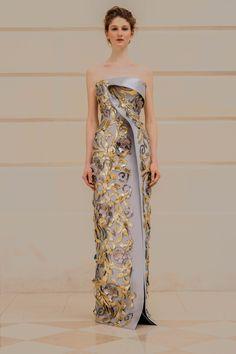 Rami Al Ali, #SS18 haute couture collection: Powder blue mikado dress with gold leather appliqués #HauteCouture #RamiAlAli