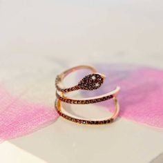 rose gold and pave snake ring by tabbi chic | notonthehighstreet.com