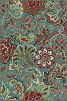 Botanical elements combine to create a tropical flair in this flirty transitional area rug. This design will add a punch of color to various design modes, from traditional to contemporary. Teal blue background with cranberry red, snowy ivory, pear green, ecru gold, mushroom taupe, espresso brown, and russet. Machine made of soft polypropylene that is naturally stain-resistant and easy to maintain. The three piece set includes a 5' x 7', 1'8