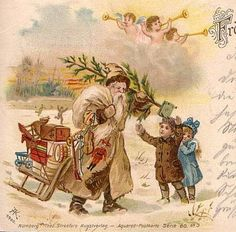 OFF-WHITE suited SANTA meets CHILDREN ANGEL THEO STROFER 1901 GREAT CARD !!! | eBay