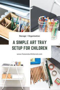 Tips for creating a barrier-free + organized art station for children Enhance your child's artistic spirit and creativity by making art objects and materials easily ac Preschool Activities At Home, Montessori Art, Montessori Elementary, Art Cart, Small Mason Jars, Plastic Sheets, Craft Materials, Craft Storage, Simple Art